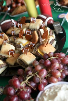 Football party...Grilled mini burger Sliders for the Toppings Bar also would be Great with Meatball Sliders as well!!! :)
