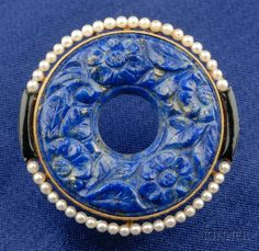 Art Deco 18kt Gold, Lapis, and Seed Pearl Brooch/Pendant