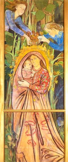 Stanisław Wyspiański, Madonna with Child, polychromy in St. Francis of Assisi's Church, Kraków, 1895 Madonna, Mystical Beauty, Art Nouveau Illustration, Painting, Christ Child, Art, Catholic Art, Art Pictures, Contemporary Art