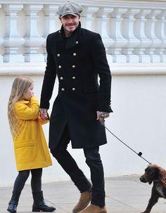 Harper Beckham, la princesita de papá, en un paseo por Londres
