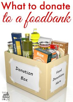 What to donate to a foodbank. What foods do food banks really want? We have a list from someone that really knows. Advent Activities, Activities To Do, Toddler Activities, Food Drive Flyer, Food Bank Donations, Little Free Pantry, Things To Do With Boys, World Hunger, Soup Kitchen