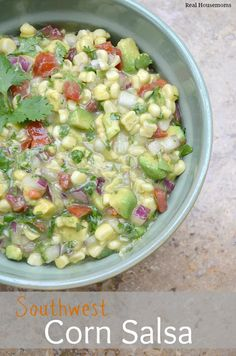 Southwest Corn Salsa Recipe ~ This mixture of corn, avocado, cilantro and salsa verde is delicious and great as an appetizer with chips or a side with grilled chicken