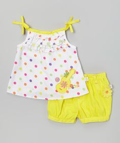 Look at this Duck Duck Goose White Polka Dot Guitar Top & Yellow Poplin Shorts - Infant on #zulily today!