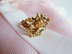 14K Gold Ring // Topaz Gemstone // Lost Wax by RavenintheDogwood, $269.00