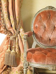 Eye For Design: Decorating With Velvet.Mixing Modern And Classic Velvet curtains in the color of the chair fabric? Window Coverings, Window Treatments, Shades Of Peach, Passementerie, Take A Seat, French Decor, Drapery, Silk Curtains, Velvet Curtains
