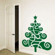 vinilos decorativos para navidad. Este original árbol de vinilo le dará un toque de color a paredes y cristales.