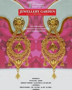 Gold Wedding Jewelry, Bridal Jewelry, Gold Jewelry, Gold Earrings Designs, Necklace Designs, Gold Necklace Simple, Gold Work, Designer Earrings, Fashion Jewelry