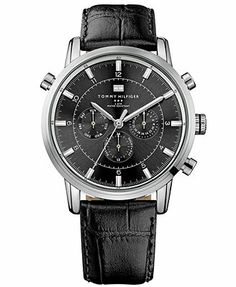 Classically styled with black and silver, this sport watch from Tommy Hilfiger complements any look. | Black croc-embossed leather strap | Round stainless steel case, 44mm | Black multi-function dial
