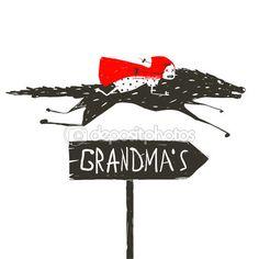 Красная шапочка на черный волк работает ее бабушка — Векторная картинка #70893861
