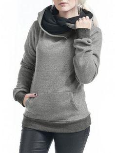 a5b5d60c8e Grey Patchwork Pockets Hooded Casual Sweatshirt