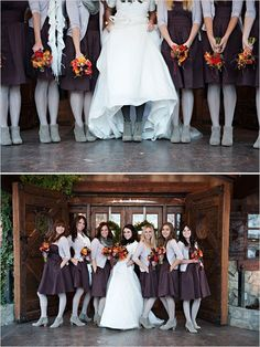 Love this method of keeping my bridesmaids warm :) Grey/Silver tights and shoes plus cardigan!