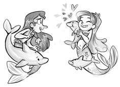Mermando and Mabel -- I don't care for Mermando, but Mabel is just d'awww in this picture!