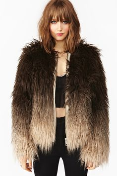Dip Dye Faux Fur Jacket