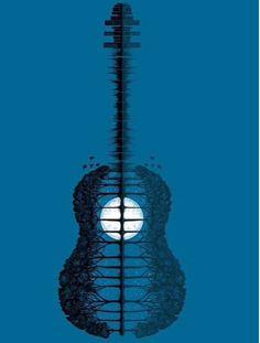 Guitar trees moon