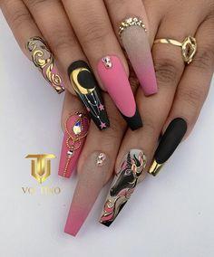 Glam Nails, Hot Nails, Polygel Nails, Best Acrylic Nails, Acrylic Nail Designs, Stylish Nails, Trendy Nails, Gothic Nails, Luxury Nails