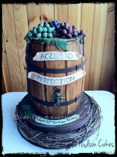 """""""Aged to Perfection"""" wine barrel cake"""