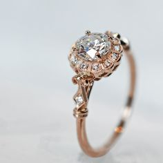 diamond and rose gold ring in an antique style