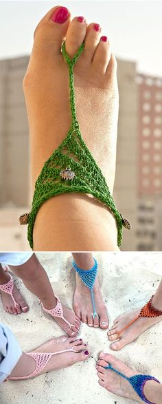 Free Knitting Pattern for Barefoot Beach Sandals - Lace footwear for the beach or poolside knit with a 2 row repeat lace stitch with an i-cord. Designed by Nicole Burgoz. Available in English and German. Pictured projects by the designer and PDamon who made some variations