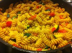 Garden Pasta: This makes for a simple, delicious dinner. Toss whole wheat rotini with zucchini & cherry tomatoes (I pre-sauteed the veggies in light olive oil, minced garlic and a pinch of salt & pepper). Serve with grated parmesan & crushed red pepper. What's YOUR favorite way to prepare a quick pasta meal?