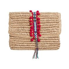 Mark & Graham Reese Straw Clutch (€37) ❤ liked on Polyvore featuring bags, handbags, clutches, mini handbags, straw handbags, summer clutches, evening handbags and straw purse