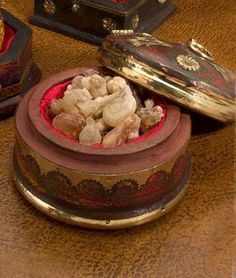 frankincense, gift by Balthasar, a king from Saba; it is resin from the dried sap of the Boswellia tree