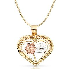 65a62be9af31 14K Two Tone Gold 15 Years Quinceanera Years Heart Charm Pendant with 2.3mm  Hollow Cuban Chain Necklace - 20