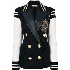 Faith Connexion embellished double breasted blazer (171.390 RUB) ❤ liked on Polyvore featuring outerwear, jackets, blazers, blazer, blue, faith connexion, embellished blazer, double breasted jacket, blue blazer and double breasted blazer