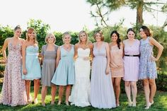 different pastel dresses