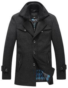 f3569e99d9ff Match Mens Wool Winter Wool Fleece Coat Trench Coat(Label size Medium(US X