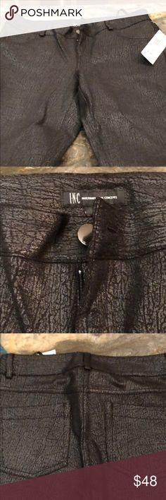 Pants Skinny leg, regular fit beautiful deep black shimmery pants from International Concepts! Never worn. INC International Concepts Pants Skinny
