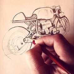 We ride, we draw. Casey sketches his BMW caferacer, R75/6. In a digital world, we still love to break out the graphite. -Wilkinson Bros