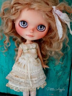 """Blythe doll outfit """"Pure white"""" grunge chic embroidered dress by marina, $60.00 USD"""