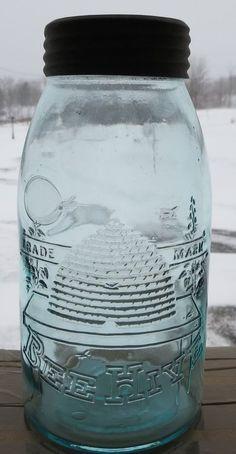 SCARCE Aqua Half Gallon Bee Hive Fruit Jar Excellent Condition RARE