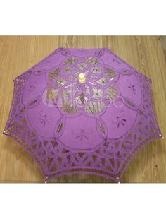 Lavender Lace Canopy Wood Handle Umbrella for Wedding