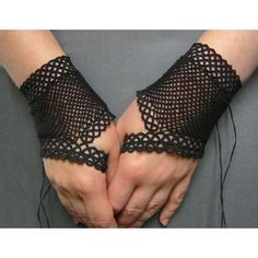 Black fingerless fishnet gloves tatted lace and crochet Gothic... ($95) ❤ liked on Polyvore featuring accessories, gloves, gothic fingerless gloves, goth gloves, victorian lace gloves, steampunk fingerless gloves and steampunk gloves