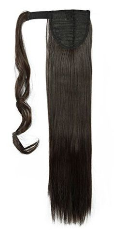 Snoilite 2666cm Straight Dark Brown Wrap Ponytail Clip in Hair Extensions Pony Tail Long Poplar Style * You can get additional details at the image link.Note:It is affiliate link to Amazon.
