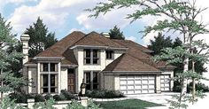 Start with a dramatic entry, add tall rooflines and wide, bright windows, and you'll have the beginnings of a wonderful design like this Contemporary home. Dream House Plans, Small House Plans, House Floor Plans, Contemporary Baths, Modern Contemporary Homes, Farm Plans, Prairie Style Houses, American Houses, Mediterranean Homes