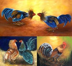 "REDUCE PRICE Mother's Gift !! The Best Cuban Art. Oil painting  18""x 22""   ""Roosters Collection"" - $184.00 USD"