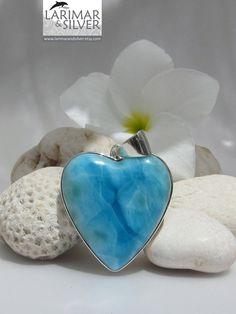 Larimar SALE 20 OFF  Larimar heart pendant by LarimarAndSilver