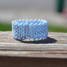 Beaded Light Blue Ring by cburnscreations on Etsy, $11.00