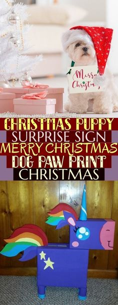 Christmas Puppy Surprise Sign Merry Christmas Dog Paw Print | Christmas Holiday Dog Present Sign Ban  Christmas Puppy Surprise Sign Merry Christmas Dog Paw Print Christmas Merry Christmas Dog, Christmas Holidays, Dog Presents, Puppy Gifts, Dog Paws, Puppies, Sign, Christmas Vacation, Cubs