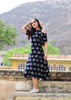 this cold shoulder dress is hand block printed in Auto Motifs. Made from Cotton Simple Frocks, Casual Frocks, Kalamkari Dresses, Ikkat Dresses, Frock Fashion, Fashion Dresses, Women's Fashion, Fashion Quotes, Fashion 2020