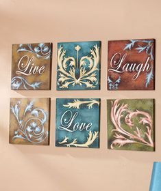 6-Pc. Sentiment Wall Art (live,love,laugh OR renew,reflect,relax OR hope,faith,love) $11 each Design Seeds, Wall Art Sets, Framed Wall Art, Pottery Barn, Diy Spring, Decoupage, Ltd Commodities, Décor Boho, Lakeside Collection