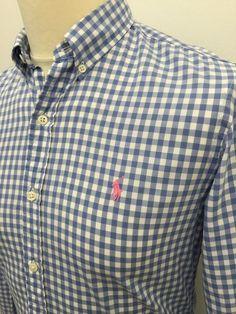 3fd008e5f4cd4 Polo  RalphLauren  Mens  Shirt Small Slim Fit Blue White  Gingham Check  Cotton