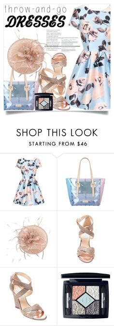 """""""Easy Peasy: Throw-and-Go Dress"""" by lucky-ruby ❤ liked on Polyvore featuring Chi Chi, J&C JackyCeline, Betsey Johnson, Christian Dior, easypeasy and blueandpink"""
