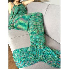 Fashion Crochet Knitted Super Soft Mermaid Tail Shape Blanket For Adult | TwinkleDeals.com