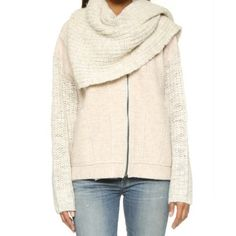 Free People Superstar Scarf Jacket Hot trend!! Last in stock and sold out almost everywhere!! Sand color scarf jacket is everything you need and more for the spring transition! NWT Free People Sweaters