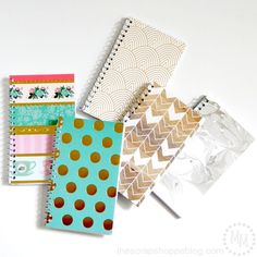 I want a Guest Book for Mom's Hospice room. -- DIY Trendy Spiral Note Pads - cover plain note pads into something fun with scrapbook paper! Cute Notebooks, Spiral Notebooks, Journals, Diy Back To School Supplies, Diy Notebook Cover, Craft Stash, Bookbinding, Couture, Scrapbook Paper