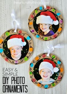 Make these DIY Christmas Photo Ornaments at home to give to grandparents or in the classroom for a present for Mom or Dad.