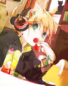 Here we see a cute Rin Kagamine Anime Vocaloid Wallpaper. He is eating out. What…